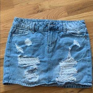 Blue spice jean skirt